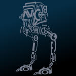 32 of 365 is an All Terrain Scout Transport (AT-ST) made out of text #inkscape