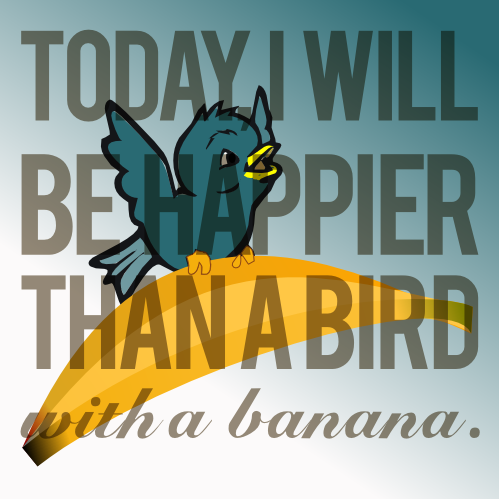 Bird with banana