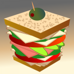 A dagwood style sandwich by John LeMasney via 365sketches.org #cc #food #illustration
