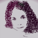 A girl's face made of out text by John LeMasney via 365sketches.org #Inkscape #cc #typography #design