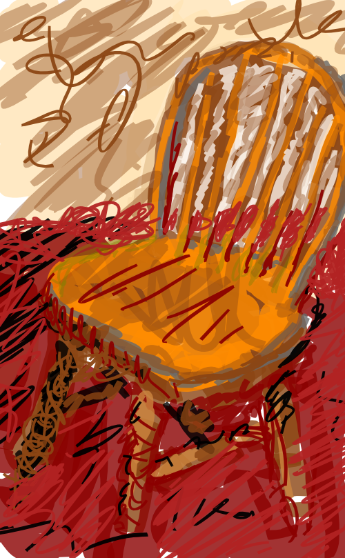 Chair on red rug