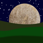 A moon rising by John LeMasney via 365sketches.org #Inkscape #lunar #landscape