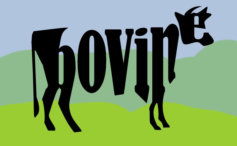 Divine bovine made of text by John LeMasney via lemasney.com