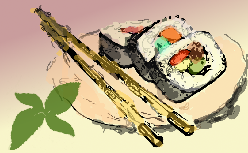 sushi illustration by john lemasney via 365sketches org