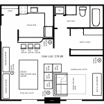 20121201: A studio apartment layout with Ikea furniture by John LeMasney via 365sketches.org #cc #design #floorplan