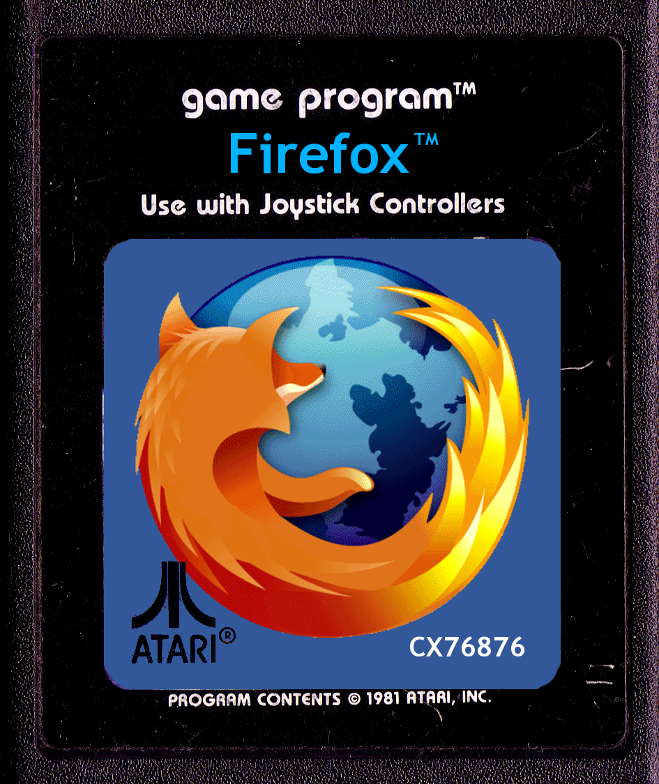 Firefox Atari 2600 game cartridge by John LeMasney via lemasney.com