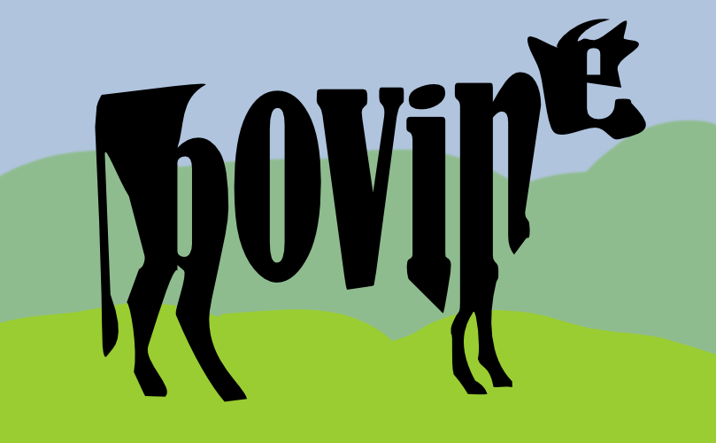 Divine Bovine made out of text by John LeMasney via lemasney.com