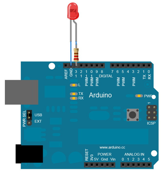 Arduino setup for the Blink sketch (Arduino.cc)